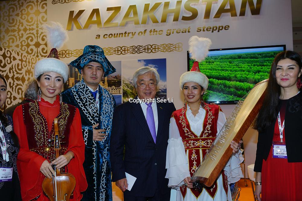 London, England, UK. 7th November 2017. HE Mr Erlan Idrissov Ambassador of Kazakhstan to the UK attend the International Travel Trade Show #WTMLDN at Excel London.