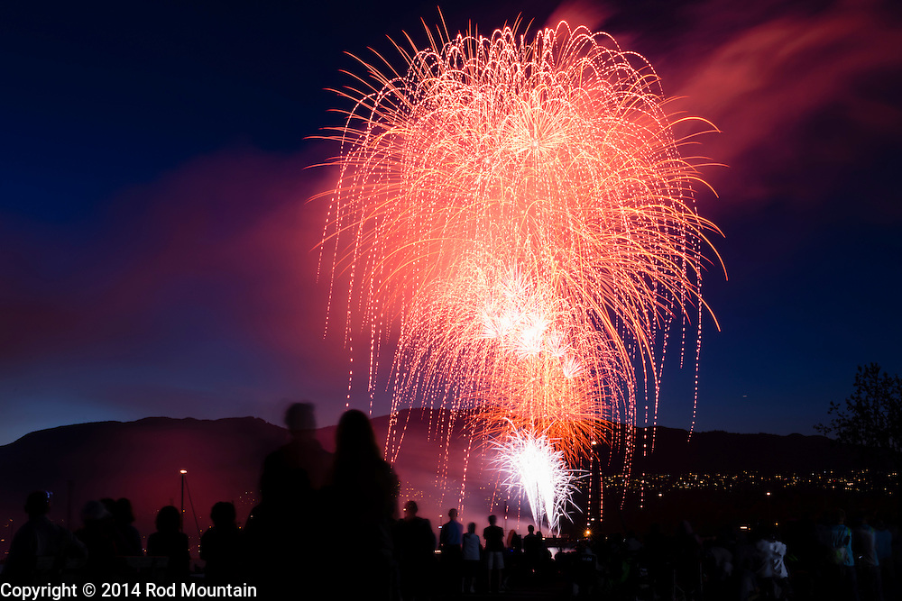 Fireworks as captured during the United States demonstration at the Celebration of Light in Vancouver. The annual fireworks competition attracts up to 400,000 spectators each night and is the world's largest offshore event. © 2014 Rod Mountain