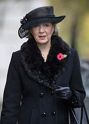 © Licensed to London News Pictures. 12/11/2017. London, UK. Leader of the House of Commons Andrea Leadsom walks through Downing Street to attend the Remembrance Sunday Ceremony at the Cenotaph in Whitehall. Photo credit: Peter Macdiarmid/LNP