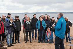 Our Forth event on Portobello beach celebrating the past year of campaigning against fracking and unconventional gas extraction and highlighting the continued campaign towards permanent bans on all forms of unconventional gas extraction. Andy Wightman MSP addresses people gathered on the beach.<br /> <br /> © Jon Davey/ EEm