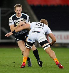 Tom Williams of Ospreys under pressure from Gerhardus Olivier of Cheetahs<br /> <br /> Photographer Simon King/Replay Images<br /> <br /> Guinness PRO14 Round 2 - Ospreys v Cheetahs - Saturday 8th September 2018 - Liberty Stadium - Swansea<br /> <br /> World Copyright © Replay Images . All rights reserved. info@replayimages.co.uk - http://replayimages.co.uk