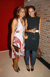 Left to right, DIVIA LALVANI and SOLONI LODHA at a party to celebrate 100 years of Chinese Cinema hosted by Shangri-la Hotels and Tartan Films at Asprey, New Bond Street, London on 25th April 2006.<br /><br />NON EXCLUSIVE - WORLD RIGHTS
