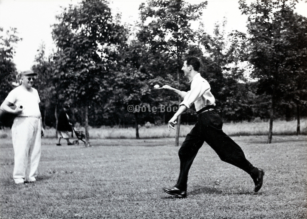 egg and spoon race event during a company recreational day outing America 1940s