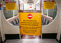 Bakerloo line social distancing seating area  for Transport for London staff