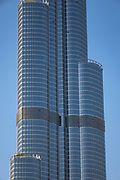 Section of the famous Burj Khalifa, the tallest building in the world, as of 2021 in Dubai, United Arab Emirates