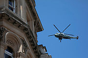 On the first day of the state visit by US President Donald Trump his presidential helicopter Marine One flies over London on 3rd June 2019 in London, United Kingdom.