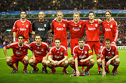 LIVERPOOL, ENGLAND - Wednesday, October 1, 2008: Liverpool players line-up for a team group photograph before during the UEFA Champions League Group D match against PSV Eindhoven at Anfield. Back row L-R: Albert Riera, goalkeeper Pepe Reina, Martin Skrtel, Dirk Kuyt, Xabi Alonso, Fernando Torres. Front row L-R: Alvaro Arbeloa, Fabio Aurelio, Robbie Keane, captain Steven Gerrard MBE, Jamie Carragher. (Photo by David Rawcliffe/Propaganda)