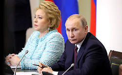 April 27, 2018 - Saint Petersburg, Russia - April 27, 2018. - Russia, Saint Petersburg. - Russian President Vladimir Putin at a meeting with members of the Legislator Council under the Russian Federal Assembly, on the occasion of Russian Parliamentarianism Day. Left: Chairperson of the Federation Council Valentina Matvienko. (Credit Image: © Russian Look via ZUMA Wire)