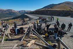 Cannonballers stop to take photos at the top of Loveland Pass during stage 10 (278 miles) of the Motorcycle Cannonball Cross-Country Endurance Run, which on this day ran from Golden to Grand Junction, CO., USA. Monday, September 15, 2014.  Photography ©2014 Michael Lichter.