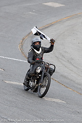Hobo Billy Applegate on Cyclemos number 86 Harley-Davidson wins his race in the Sons of Speed Vintage Motorcycle Races at New Smyrina Speedway. New Smyrna Beach, USA. Saturday, March 9, 2019. Photography ©2019 Michael Lichter.