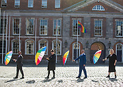 NO FEE PICTURES<br /> 22/5/20 Jed Dowling (left), CEO Dublin LGBTQ+ Pride Parade, Lisa Connell, Pride Director,  Eddie McGuinness, Mr Pride and Vanessa O'Connell, Grand Marshall representative, at the launch of the Digital Dublin Pride Festival tomorrow, May 22nd, to coincide with the 5th anniversary of Ireland voting Yes to Marriage Equality. Even though this year we will have a Digital Festival and a Virtual Parade, by working together and all taking part, we will still achieve the same sense of community, solidarity and empowerment that Pride gives. Further Information contact Eddie McGuinness 0863884242 Picture: Arthur Carron.
