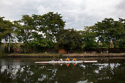 Rowing team on ther River Lea Navigational canal in North London.