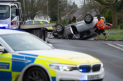 © Licensed to London News Pictures 24/01/2021.        Orpington, UK. Hazardous icy roads this morning in Orpington, South East London as the driver of this car found out. One person has gone to hospital with minor injuries. The A224 Orpington by pass is closed. Photo credit:Grant Falvey/LNP