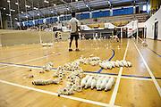 Shuttlecocks on floor during Badminton coaching session. Singapore.