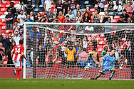 Andy Brown of Brackley Town (14) scores his penalty during the penalty shoot out securing the FA Trophy during the FA Trophy match between Brackley Town and Bromley at Wembley Stadium, London, England on 20 May 2018. Picture by Stephen Wright.