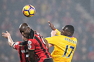 Crystal Palace forward Christian Benteke (17), Bournemouth forward Benik Afobe (9) during the Premier League match between Bournemouth and Crystal Palace at the Vitality Stadium, Bournemouth, England on 31 January 2017. Photo by Sebastian Frej.