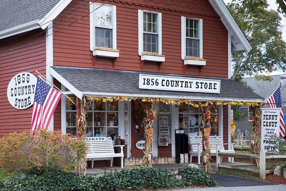 1856 Country Store of wood clapboard with bench for Democrats and Republications in Centerville, Massachusetts, USA