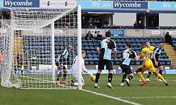 Ryan Allsop of Wycombe Wanderers saves a header - Mandatory byline: Robbie Stephenson/JMP - 27/02/2016 - FOOTBALL - Adams Park - Wycombe, England - Wycombe Wanderers v Bristol Rovers - Sky Bet League Two