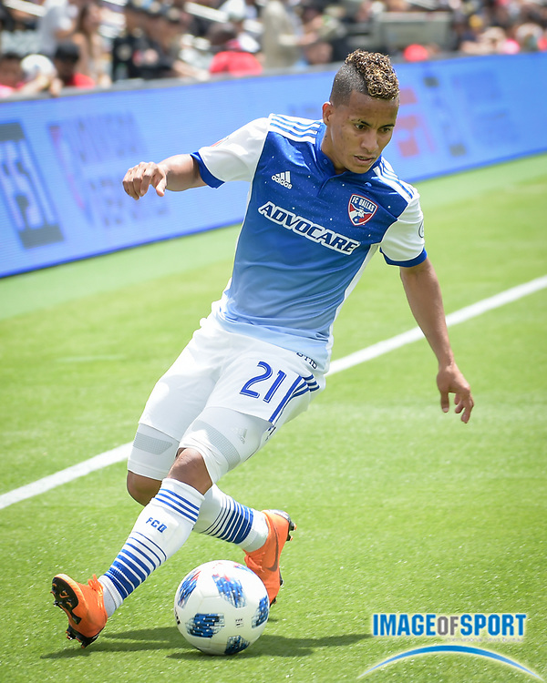 FC Dallas midfielder Michael Barrios (21) in action during a MLS soccer match against the Los Angeles FC in Los Angeles, Saturday, May 5, 2018. (Eddie Ruvalcaba/Image of Sport)