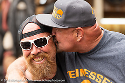 Custom bike builder Bill Dodge and Buck Shaw at the Iron Horse Saloon during the 78th annual Sturgis Motorcycle Rally. Sturgis, SD. USA. Sunday August 5, 2018. Photography ©2018 Michael Lichter.