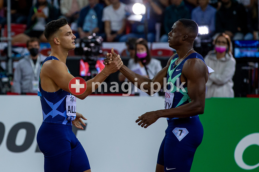 Devon Allen (L) of the United States shakes hand with second placed Ronald Levy of Jamaica after winning in the men's 110m Hurdles during the Iaaf Diamond League meeting (Weltklasse Zuerich) at the Letzigrund Stadium in Zurich, Switzerland, Thursday, Sept. 9, 2021. (Photo by Patrick B. Kraemer / MAGICPBK)