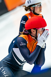 Suzanne Schulting of Netherlands win the 500 meter during ISU World Short Track speed skating Championships on March 06, 2021 in Dordrecht