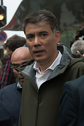 """French socialist party first secretary Olivier Faure (C) takes part in a demonstration, on May 22, 2018 in Paris, during a nationwide day protest by French public sector employees and public servants against the overhauls proposed by French President, calling them an """"attack"""" by the centrist leader against civil services as well as their economic security. Photo by Samuel Boivin / ABACAPRESS.COM"""
