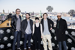 April 13, 2018 - Stockholm, Sweden - Photo call för The Girl in the Spider's Web. Stephen Merchant, regissören Fede Alvarez, Claire Foy, Sverrir Gudnason och Lakeith Stanfield (Credit Image: © Lorentz-Allard Robin/Aftonbladet/IBL via ZUMA Wire)