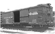 """Box car #3256.<br /> D&RGW  Alamosa, CO  Taken by Ward, Bert H. - 7/16/1946<br /> In book """"Narrow Gauge Pictorial, Vol. III: Gondolas, Boxcars and Flatcars of the D&RGW"""" page 120<br /> See RD054-070 for copy"""