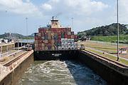 Ships passing through the Miraflores Locks, Panama Canal, Panama
