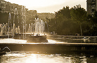BUCHAREST, ROMANIA - September 30, 2012: Water fountains at the Park Unirii in downtown Bucharest.
