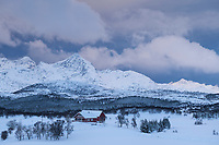 Red house in snow covered winter landscape of Vestvågøy, Lofoten Islands, Norway