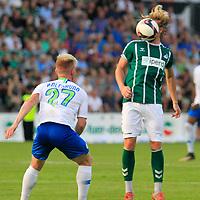 28.08.2019, Stadion Lohmühle, Luebeck, GER,  VFB Lübeck/Luebeck vs VfL Wolfsburg IIi<br /> <br /> DFB REGULATIONS PROHIBIT ANY USE OF PHOTOGRAPHS AS IMAGE SEQUENCES AND/OR QUASI-VIDEO.<br /> <br /> im Bild / picture shows<br /> Zweikampf/Kopfball. Kopfballduell zwischen Marcel Schelle (VfB Luebeck) und Dominik Marx VfL Wolfsburg II.<br /> <br /> Foto © nordphoto / Tauchnitz