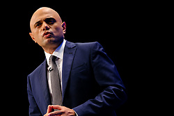 © Licensed to London News Pictures. 05/10/2021 Manchester, UK. Sajid Javid speaking Conservative Party Conference. Photo credit: Jess Hurd/LNP