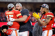 Kansas City Chiefs' Patrick Mahomes, left, Travis Kelce, center, and Tyrann Mathieu, right, during celebrations after winning the NFL, AFC Championship football game against the Tennessee Titans, Sunday, Jan. 19, 2020, in Kansas City, MO. The Chiefs won 35-24 to advance to Super Bowl 54. Photo/Colin E. Braley Colin Eric Braley Photography