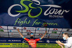 Stage winner Phil BAUHAUS of BAHRAIN VICTORIOUS celebrates at trophy ceremony during the 5th Stage of 27th Tour of Slovenia 2021 cycling race between Ljubljana and Novo mesto (175,3 km), on June 13, 2021 in Slovenia. Photo by Vid Ponikvar / Sportida