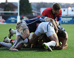 Bristol Rugby flanker Marco Mama scores against Yorkshire Carnegie in Greene King IPA Championship at Ashton Gate - Photo mandatory by-line: Paul Knight/JMP - Mobile: 07966 386802 - 18/01/2015 - SPORT - Rugby - Bristol - Ashton Gate Stadium - Bristol Rugby v Yorkshire Carnegie - Greene King IPA Championship