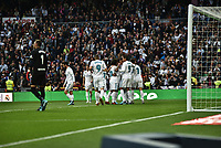 Real Madrid's  Karim Benzema (l), Raphael Varane (c) and Cristiano Ronaldo and Malaga CF's   during La Liga match. November 25,2017. (ALTERPHOTOS/Villa)