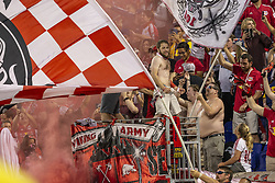 September 22, 2018 - Harrison, New Jersey, United States - New York Red Bulls fans celebrate victory during regular MLS game against Toronto FC at Red Bull Arena Red Bulls won 2 - 0 (Credit Image: © Lev Radin/Pacific Press via ZUMA Wire)
