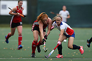 Danni Jordan of Wales (l) and Mariia Bordolimova of Russia ®. Wales v Russia, semi final,  EuroHockey 11 Women's championshp 2017 in Cardiff, South Wales , Friday 11th August 2017<br /> pic by Andrew Orchard