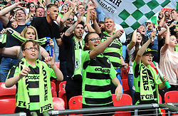 Forest Green Rovers fans celebrate at the full time whistle  - Mandatory by-line: Nizaam Jones/JMP - 14/05/2017 - FOOTBALL - Wembley Stadium- London, England - Forest Green Rovers v Tranmere Rovers - Vanarama National League Final