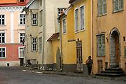 TaPastel shades of the historic old town centre, Tallinn, Estonia