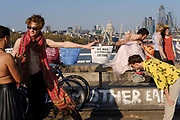 Extinction Rebellion protesters block Londons Waterloo Bridge for the 6th day on 20th April 2019. Protesters occupy major london traffic arteries to call on the governemnt to act on the climate and environmental disaster. Extinction Rebellion is a socio-political movement which intends to utilise nonviolent resistance to avert climate breakdown, halt biodiversity loss, and minimise the risk of human extinction and ecological collapse.