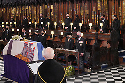 Mourners, including, front row, from left, the Duchess of Cambridge, the Duke of Cambridge, the Earl of Wessex, Viscount Severn, Lady Louise Mountbatten-Windsor, the Countess of Wessex, the Duchess of Cornwall and the Prince of Wales at the Duke of Edinburgh's funeral service at St George's Chapel, Windsor Castle, Berkshire. Back row, from left: The Earl of Snowdon, Mr Peter Phillips, Mr Mike Tindall, Zara Tindall, Mr Jack Brooksbank, Princess Eugenie, Mr Edoardo Mapelli Mozzi and Princess Beatrice. Picture date: Saturday April 17, 2021.