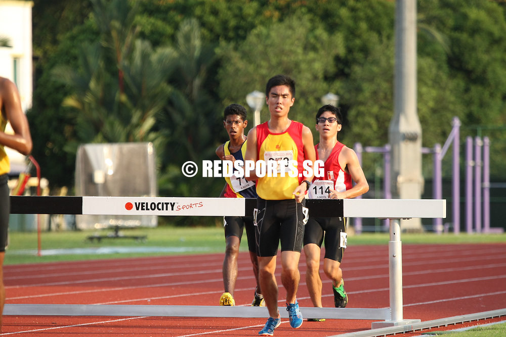 Chua Chu Kang Stadium, Friday, April 12, 2013 — Karthic Harish Ragupathy of Hwa Chong Institution (HCI) capped off a red-letter season, when he won the A Division 3,000 metres steeplechase final at the 54th National Schools Track and Field Championships. In doing so, he successfully defended his three A Division titles in cross-country, the 5,000m and the 3,000m steeplechase.<br /> <br /> Story: http://www.redsports.sg/2013/04/17/a-boys-3000m-steeplechase-karthic-hci/