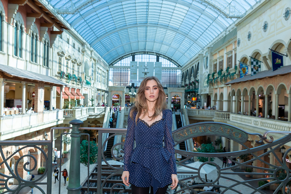 Suki Waterhouse, English Model, at Mercato Mall, Dubai, as part of Dubai Shopping Festival 2020.
