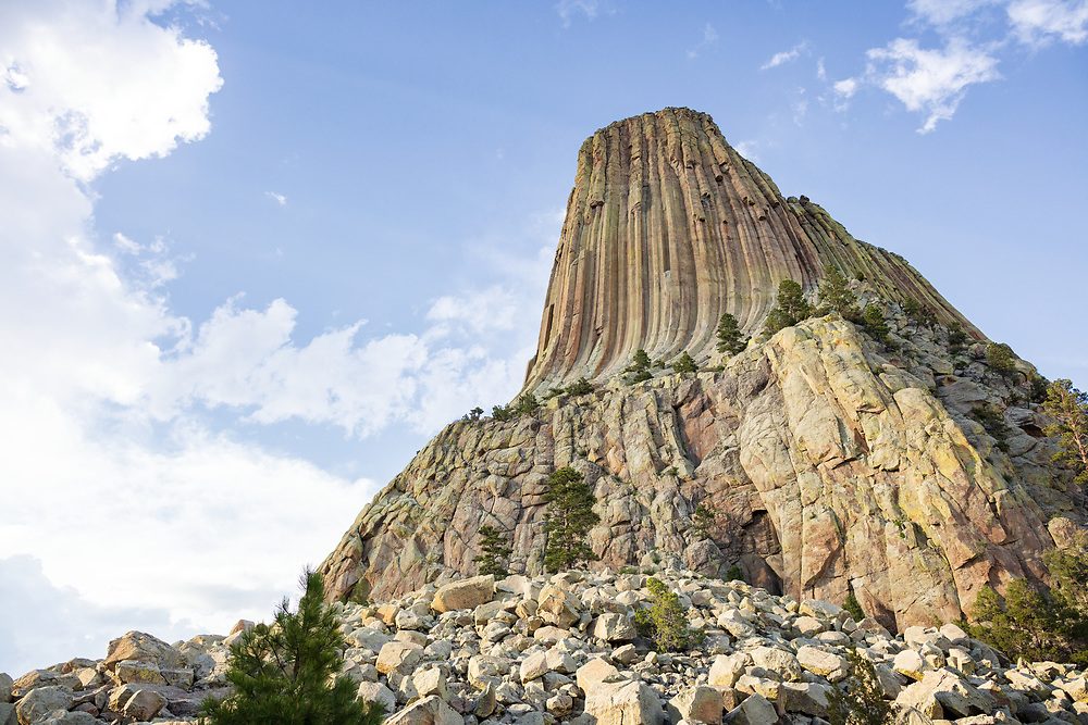 Closeup view of Devils Tower from the Tower Trail in Wyoming