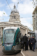 A Nottingham Express Transit (NET) tram outside Old Market Square in Nottingham, Nottinghamshire, United Kingdom. The tram network in Nottingham has 51 stops and provides an alternative, more sustainable mode of transport for commuters and tourists.  (photo by Andrew Aitchison / In pictures via Getty Images)