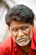 A man in the crowd. Pilgrims come from all over India to attend the Kumbh Mela.