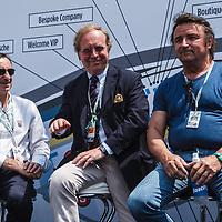 (L-R) Pierre Fillon, Patrick Peter, Rene Arnoux on 06/07/2018 at the 24H of Le Mans, 2018
